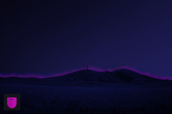 Bildnachweis: Night, sky, hill and landscape by Thomas Shellberg Unsplash.com License, bearbeitet von Simon Mallow.