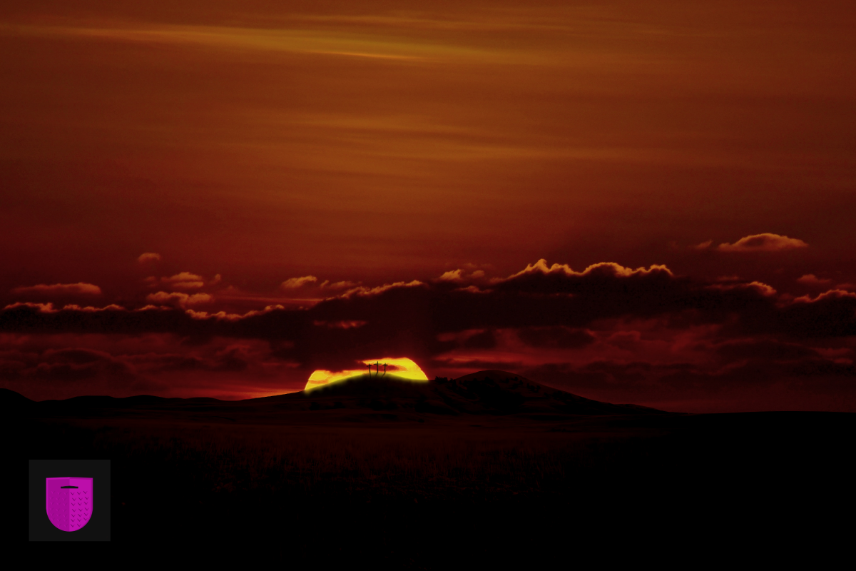 Bildnachweis: When the sun has set, no candle can replace it by Hassan Maayiz Unsplash.com License sowie Night, sky, hill and landscape by Thomas Shellberg Unsplash.com License, bearbeitet von Simon Mallow.