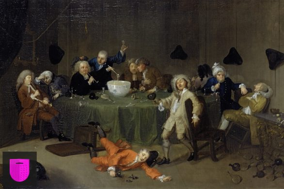 Bildnachweis: A Midnight Modern Conversation by William Hogarth gemeinfrei, bearbeitet von Lukas Klette.