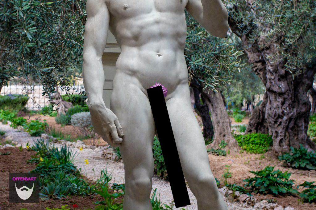 """Bildnachweis: David by Michelangelo by Jörg Bittner CC-BY 3.0 sowie """"Unbenannt"""" by Stacey Franco Unsplash.com License, montiert und bearbeitet von Simon Mallow."""