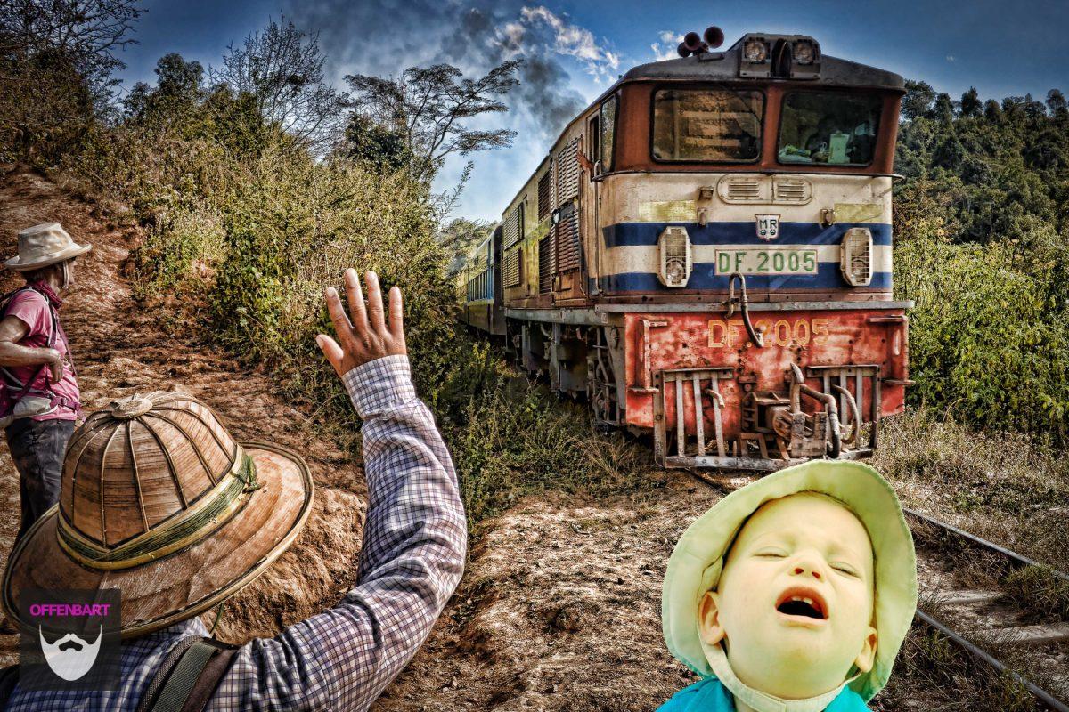Bildnachweis:Day 337 - making more teeth is hard work! by Paul Ashley CC-BY 2.0 und It's that train again. Happy memories.......not! by Neville Wootton CC-BY 2.0, montiert und bearbeitet von Simon Mallow.