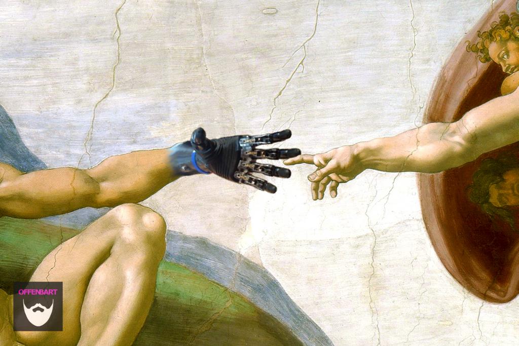 Bildnachweis: artificial hand prosthetic hand by Rob Kall CC-BY-NC 2.0 und Die Erschaffung des Adam by Michelangelo PDM 1.0, montiert und bearbeitet von Simon Mallow.