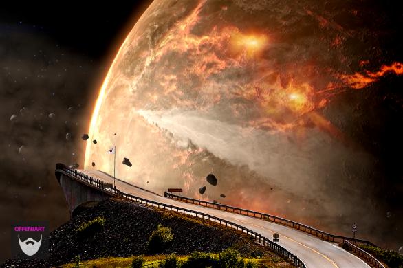 Bildnachweis: Going Up by Matt Lamers Unsplash.com License sowie BENNU'S JOURNEY - Impacts by NASA Goddard Space Flight Center CC-BY 2.0 , montiert und bearbeitet von Simon Mallow.