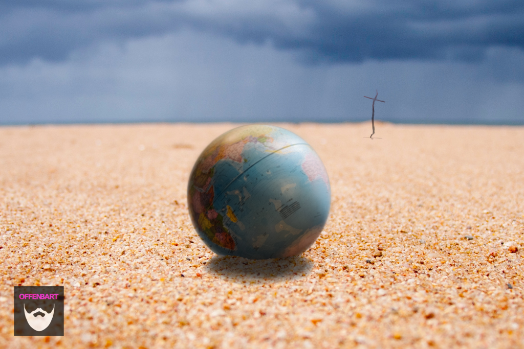 Bildnachweis: Small World by Ricardo Resende Unsplash.com License sowie Beach of an Idea by Glen Carrie Unsplash.com License, montiert und bearbeitet von Simon Mallow.