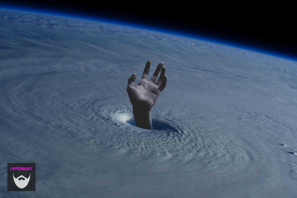 Bildnachweis: Giant Hurricane Space by NASA Unsplash.com License sowie Naufragus by Ian Espinosa Unsplash.com License, montiert und bearbeitet von Simon Mallow.