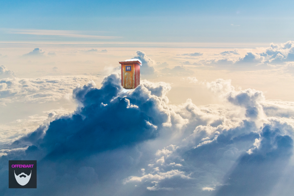 Bildnachweis: Clouds in the stratosphere by Kaushik Panchal Unsplash.com License, Winter outhouse by Chandana Ban Unsplash.com License sowie Unisex by Ken Treloar Unsplash.com License , bearbeitet von Simon Mallow.